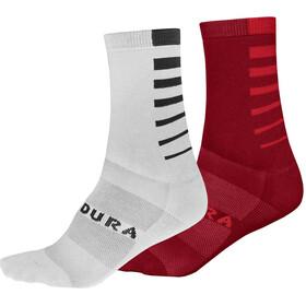 Endura Coolmax Stripe Socks 2-Pack Men, rojo